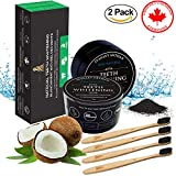 All Natural Charcoal Teeth Whitening Powder 2 Packs - Activated Coconut Charcoal Powder + 4 Packs of Bamboo Toothbrushes - BPA Free and Soft Bristles