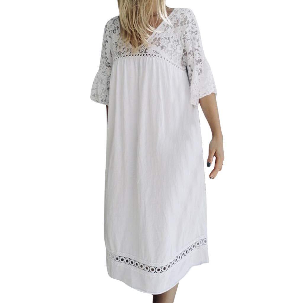 Lazzboy Women Tunic Dress Plus Size Kaftan Lace Hollow Plain Baggy Oversized Beach Flare Short Sleeve Ladies Dresses