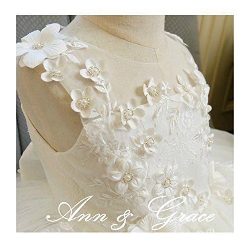 Off White Lace and Tulle Flower Girl Dress, Christening First Communion Baptism (12-18 months)]()