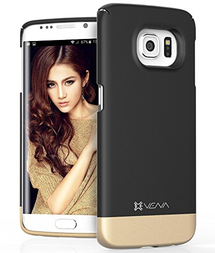 Samsung Galaxy S6 Edge Case, VENA [iSlide] Slim Fit Hard Rubber-Coated Case Cover for Samsung Galaxy S6 Edge (Black / Champagne Gold) - Hard Rubber Coated Case