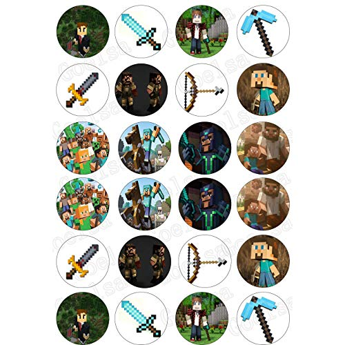 ELSANI 48x Edible Cupcake Toppers Minecraft Party Themed Collection of Edible Cake Decorations Uncut Edible Prints on 2 Wafer Sheets -
