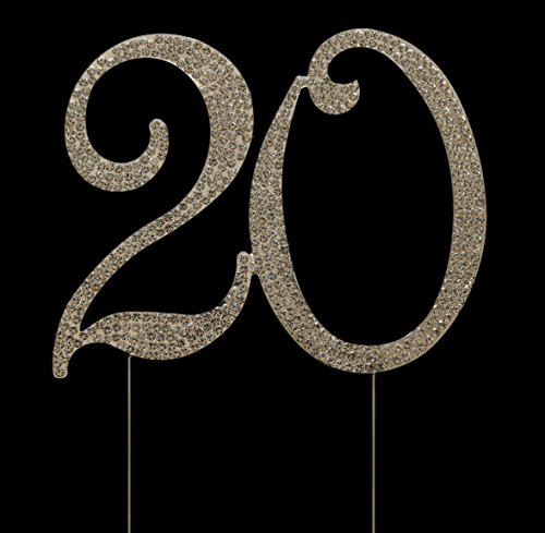 Collection 20th Anniversary - Numbrer 20 for 20th Birthday or Anniversary Cake Topper Party Decoration Supplies, Silver, 4.5 Inches Tall