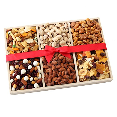 Broadway Basketeers Gourmet Food Fresh Nuts & Dried Fruit Gift Basket - Elegant 6-Section Assortment Tray