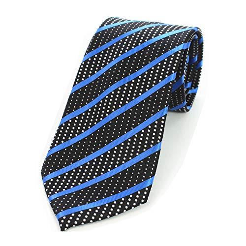 JEMYGINS Mens Silk Blue Stripe Tie Necktie and Pocket Squre Hankerchief, Tie Clip Sets ()