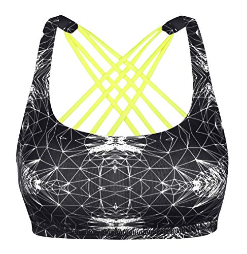 (Queenie Ke Womens Yoga Sport Bra Light Support Strappy Free to Be Bra Size L Color Black Prints Across )