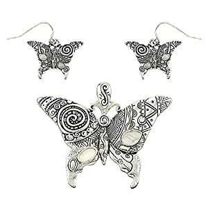Engraved Butterfly Pendant and Earring Set