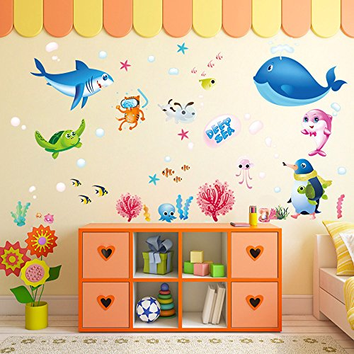 Wall Stickers, E-Scenery Colorful Fish Shark Ocean Peel and Stick DIY 3D Wall Decals Mural Art Wallpaper for Kids Room Home Nursery Party Window Decor