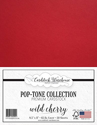 (Wild Cherry RED Cardstock Paper - 8.5 x 11 inch 65 lb. Cover -50 Sheets from Cardstock Warehouse)