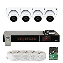 GW Security 2.1 MegaPixel 1080P Color Night Vision Security Camera System with 4 Channel DVR and 4 x 1080P Starlight 2.8-12mm Varifocal Zoom Outdoor / Indoor Dome Cameras + 1TB Hard Drive Included