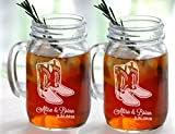 Set of 2 Cowboy Boot Wedding Personalized Mugs Mason Jar Glasses Wedding Party Country Western Barn Wedding Bridesmaid Groomsmen Gifts Favors