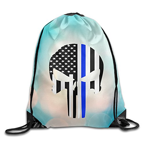 YYHU Thin Blue Line Skull Drawstring Backpack Bag Sack Bag - Great For Travel And Everyday
