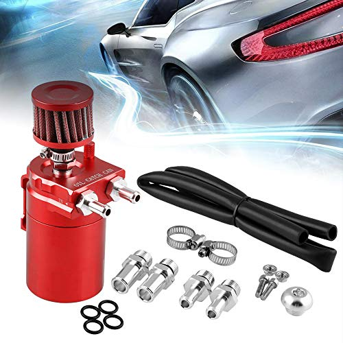 RuienUniversal 400ml Oil Catch Can Tank with Breather Aluminum Compact Dual Cylinder Polish Baffled Engine Air Oil Separator Tank Reservoir Kit Red