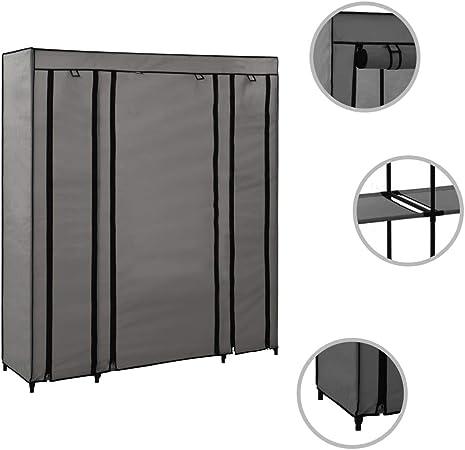 Tidyard Armario de Metal Acero Armario con Compartimentos y Varillas Tela Crema 150x45x176 cm: Amazon.es: Hogar
