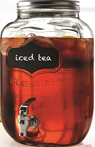 Circleware 2 Piece Chalkboard Yorkshire Mason Jar Glass/Dispenser with Fun Chalkboard, 2 gallon, Clear (Jar Glass Dispenser)