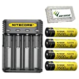 Nitecore Q4 Universal 4-Bay 2A Quick Charger for IMR and Li-ion Rechargeable Batteries w/ 4x NL1835HP 3500mAh 18650 Batteries & Eco-Sensa Battery Storage Case (Blackberry)