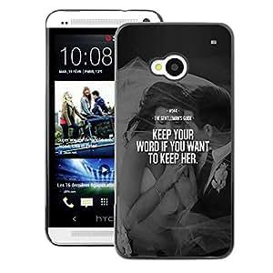 A-type Arte & diseño plástico duro Fundas Cover Cubre Hard Case Cover para HTC One M7 (Keep Her Love Word Heartbreak Couple)