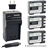 Kastar Battery (3-Pack) and Charger Kit for Canon NB-2L NB-2LH and Canon PowerShot G7 G9 S30 S40 S45 S50 S60 S70 S80 DC410 DC420 VIXIA HF R10 HF R100 HF R11 EOS 350D 400D Digital Rebel XT Xti