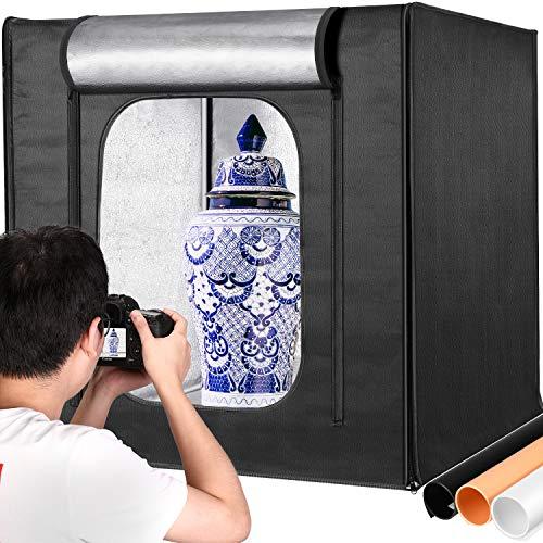 Neewer Professional Photo Light Box Kit 32x32 Inch Adjustable Brightness Studio Photography Lighting Shooting Tent with 3 LED Light Panel (210pcs SMD LED Beads)/3 Color Backdrops, Multi-angle Shooting