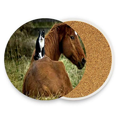 Coasters for Drinks,Cute Friends Animal Kitten Grass Horse Ceramic Round Cork Trivet Heat Resistant Hot Pads Table Cup Mat Coaster-Set of 2 Pieces