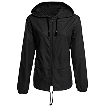 Amazon.com: Goddessvan Women Solid Rain Jacket Outdoor Plus ...