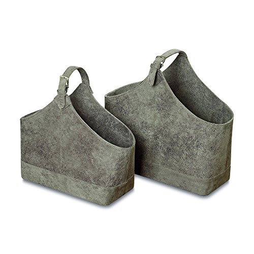 The Tribeca Magazine Holder Racks, Set of 2, Lush Gray Faux Suede, Top Handle, Silver Buckles And, Stitched Details, 18 and 15 3/4 Inches Long By Whole House Worlds For Sale