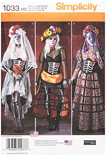 Simplicity Creative Patterns US1033H5 Misses Day of The Dead Costumes, Size H5 (Diy Hoop Skirt Costume)