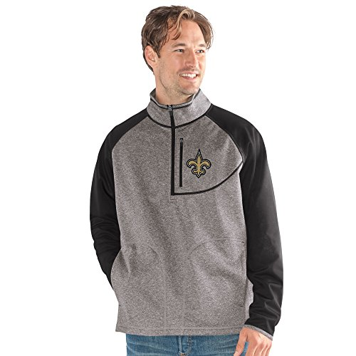 G-III Sports NFL New Orleans Saints Mountain Trail Half Zip Pullover, 5X, Gray (Jacket Saints New Pullover Orleans)