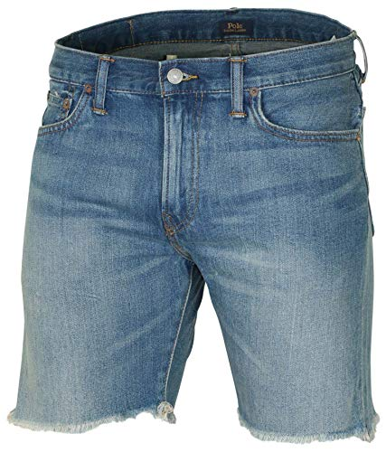 Polo Ralph Lauren Men's Sullivan Slim Jean Short, Fray Bottom, Destruct Denim Shorts (31, Blue Fray Bottom)
