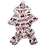 Pet Dog Hoodie Sweater Christmas Bells Dog Warm Clothes Coat Costume ANBOO For Small Dogs Winter Sweaters (S, Pink)