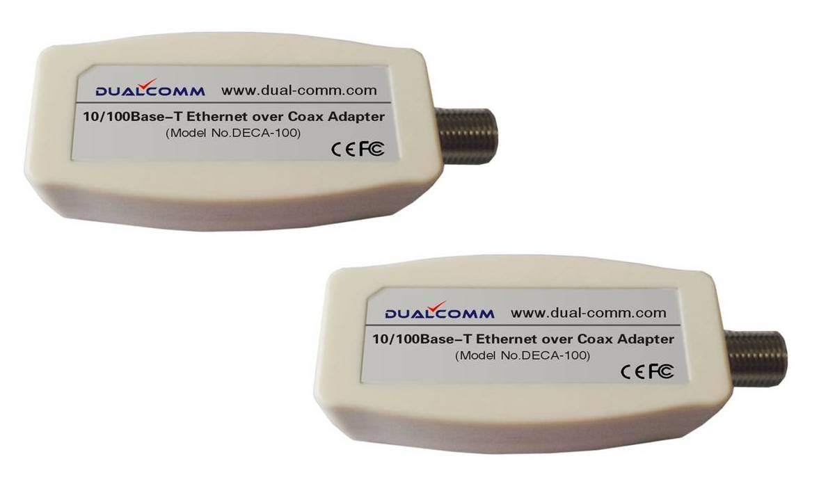 Dualcomm Ethernet Over Coax Eoc Adapters Deca 100 Upstairs Wiring Diagram Twin Pack Computers Accessories