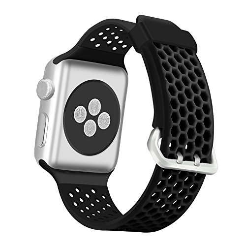 Series Medium Rubber - ESeekGo Compatible with Apple Watch Band 42mm 44mm 38mm 40mm, Sport Breathable Silicone Replacement Smart Fitness Watch Wristband Compatible with Apple Watch Series 4 3 2 1 Edition for Men Women