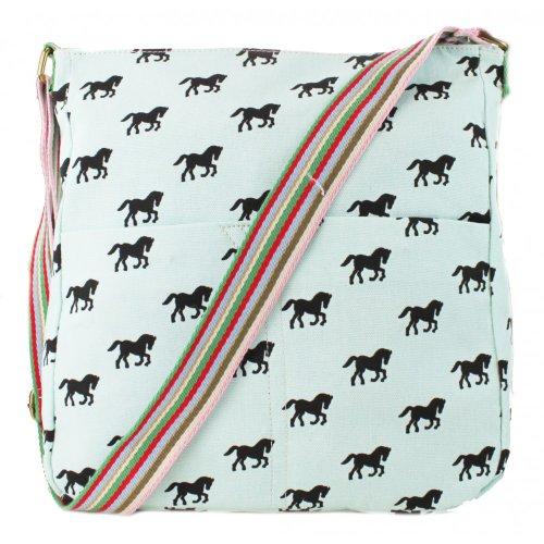 Miss Hombro Plus Lulu Blue Bolsa Messenger Lona Beau Perry Horse Bag Lienzo De ErwrBUWq6