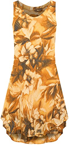Wearall Imprimé Floral Manches Moulantes Féminin Doublé Dames Robe De Lin Froufrous Nouveau 10-16 Brun
