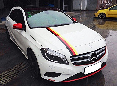1x 59 Germany Flag Stripe Car Hood Body Sticker for Audi BMW Mercedes Mini Porsche Exterior Cosmetic Hood Roof Bumpers