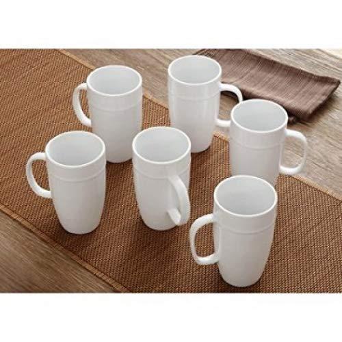 dens 18 oz Latte Mug, Set of 6, White Porcelain ()