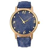 Yesurprise Fashion Unisex Women Reminiscence Denim Fabric Jean Band Bracelet Gold Dial Quartz Watch Blue