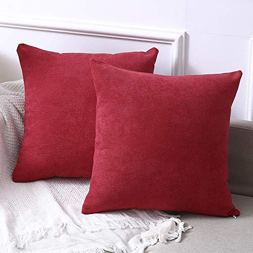 Madizz Pack of 2 Chenille Velvet Suede Solid Decorative Square Throw Pillow Covers Set Cushion Case 18x18 inch Christmas ()