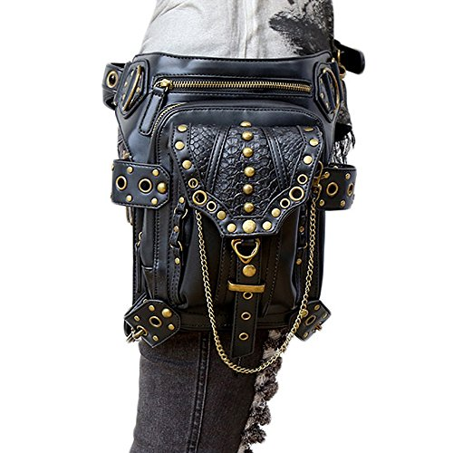 Outdoor Black Women Travel Nanami Steampunk Synthetic Retro Multifunctional Leather Tc0O0W