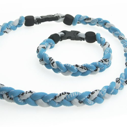 Titanium Sport Necklace & Bracelet -with Kare & Kind Retail Packaging (Light blue & White)
