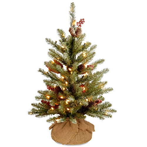 National Tree 3 Foot Dunhill Fir Small Tree with Red Berries, Snow, Cones and 35 Battery Operated Warm White LED Lights with Timer (DUF-300-30-B1) (Pine Tree Dunhill)