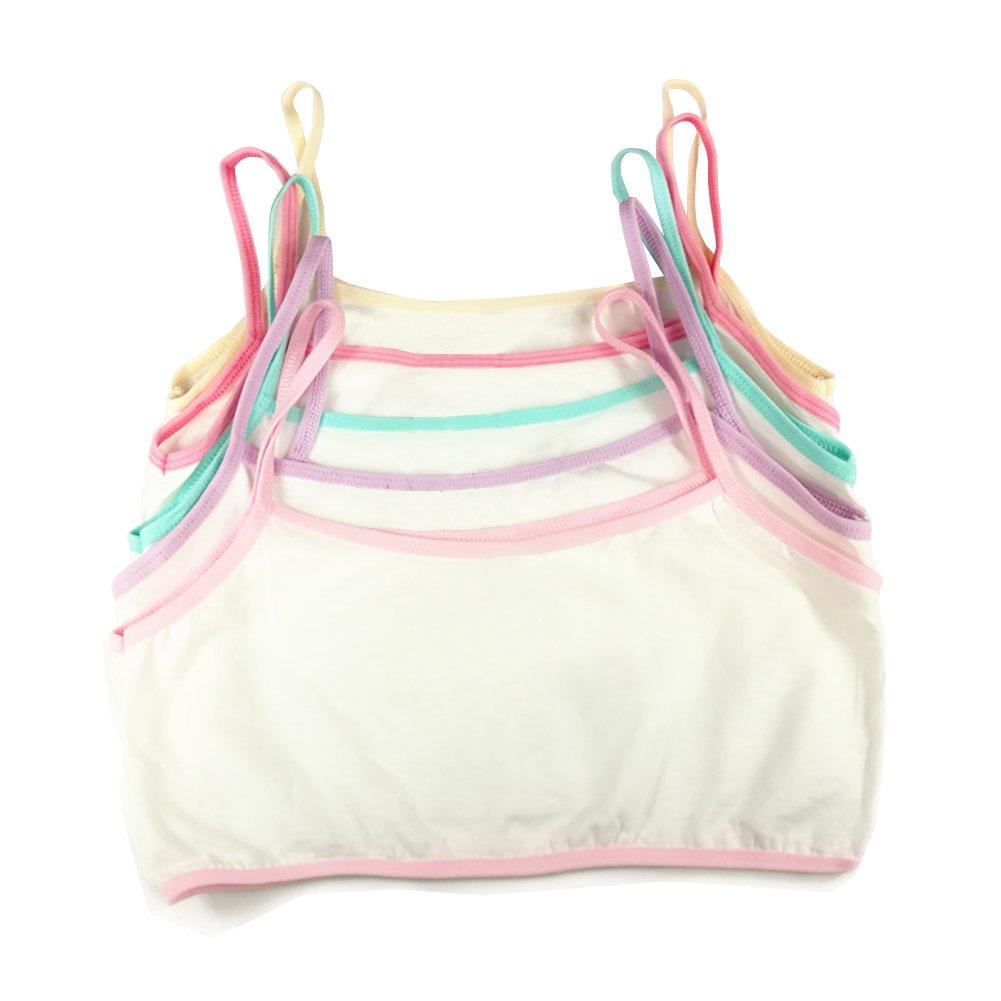 Emmarr 7-12 Girls Bras Cotton Vest-style Small Harness Development Bra 5 pack of color random