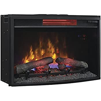 "Amazon.com: ClassicFlame 25II310GRA 25"" Curved Infrared Quartz Fireplace Insert with Safer Plug: Home & Kitchen"