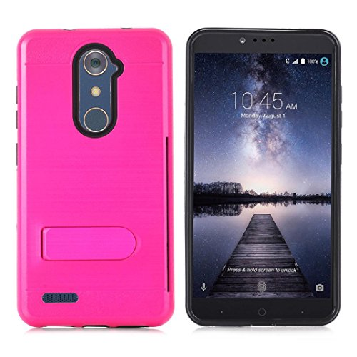 AutumnFall Slim Fit 2 in 1 Hard PC + Soft Silicone Hybrid Rugged Bumper Protective Back Cover Case for ZTE ZMAX Pro/ZTE Carry Z981 (Hot Pink)