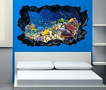 3D Wandtattoo Unterwasserwelt Fisch Korallen Riff Meer Bild Foto Wandbild  Wandsticker Wandmotiv Aufkleber 11F245, Wandbild