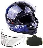 Typhoon Adult Dual Visor Modular Snowmobile DOT Full Face Flip-up Helmet (Blue, XL)