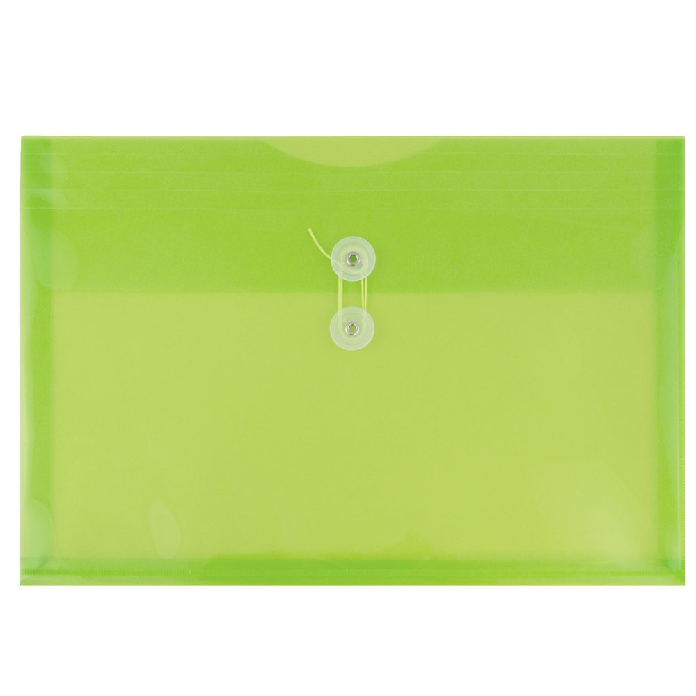 JAM Paper Plastic Envelopes with Button & String Tie Closure - Letter Booklet - 9 3/4'' x 13'' - Lime Green - 1008/carton