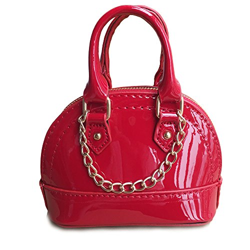 Girl Purses, Little Girls Handbags with Metal Chain for Toddler Kids Mini Tote - Red