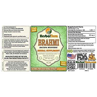 Brahmi (Bacopa Monnieri) Glycerite, Dried Whole Herb Alcohol-Free Liquid Extract 2 oz: Health & Personal Care