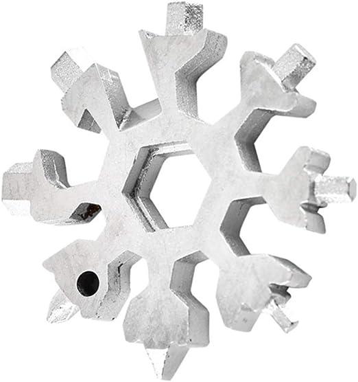 15 en 1 Outil Multi-Usages Extérieur Multiusage Flocon de Neige Clé Inoxydable