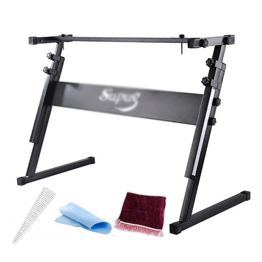 Synthesizers & Workstations Keyboard Stand Piano Stand Keyboard Stand and Bench Set Iron Lift Z-Bracket 54-61 Key Piano Stand Children's Electronic Piano Stand (Color : Black, Size : 804083cm) by Synthesizers & Workstations